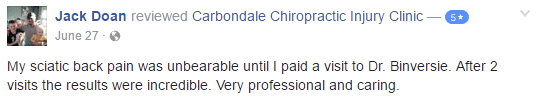 Carbondale Chiropractic Injury Clinic Testimonial